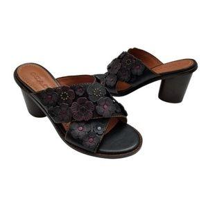 Coach Black Tea Rose Leather Slide Mule Sandals